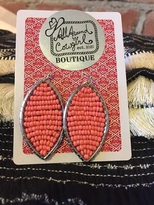 Boho, peach bead earrings