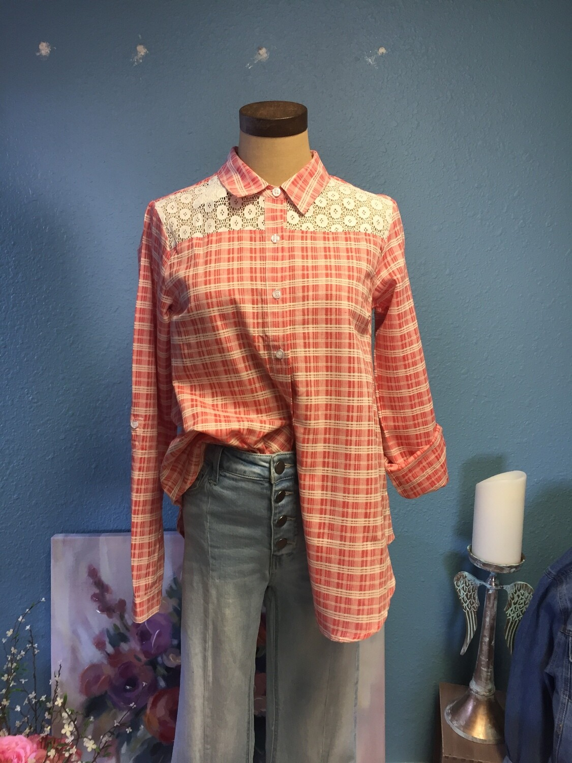 AAC - Plaid and Lace Long Sleeve