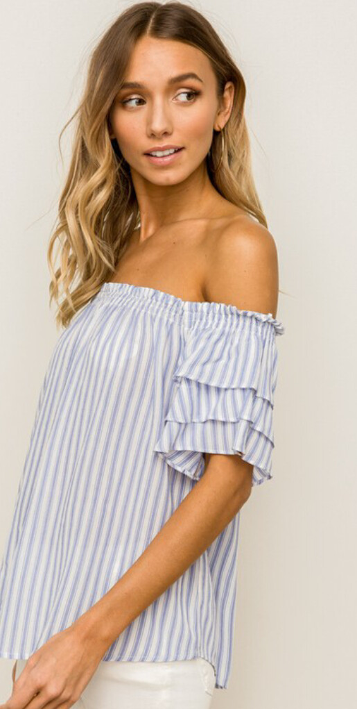 AAC - Off Shoulder Blue white Ruffle Sleeve