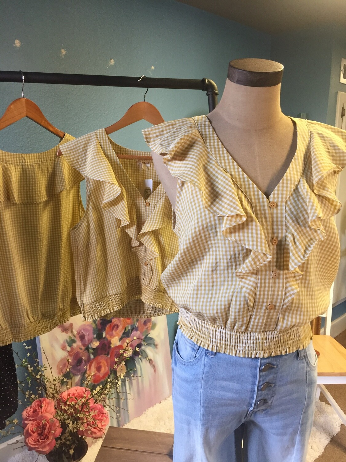 AAC- Mustard Gingham V-Neck Ruffle