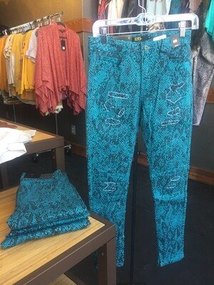 AAC - Teal colored snake print skinny moto jeans
