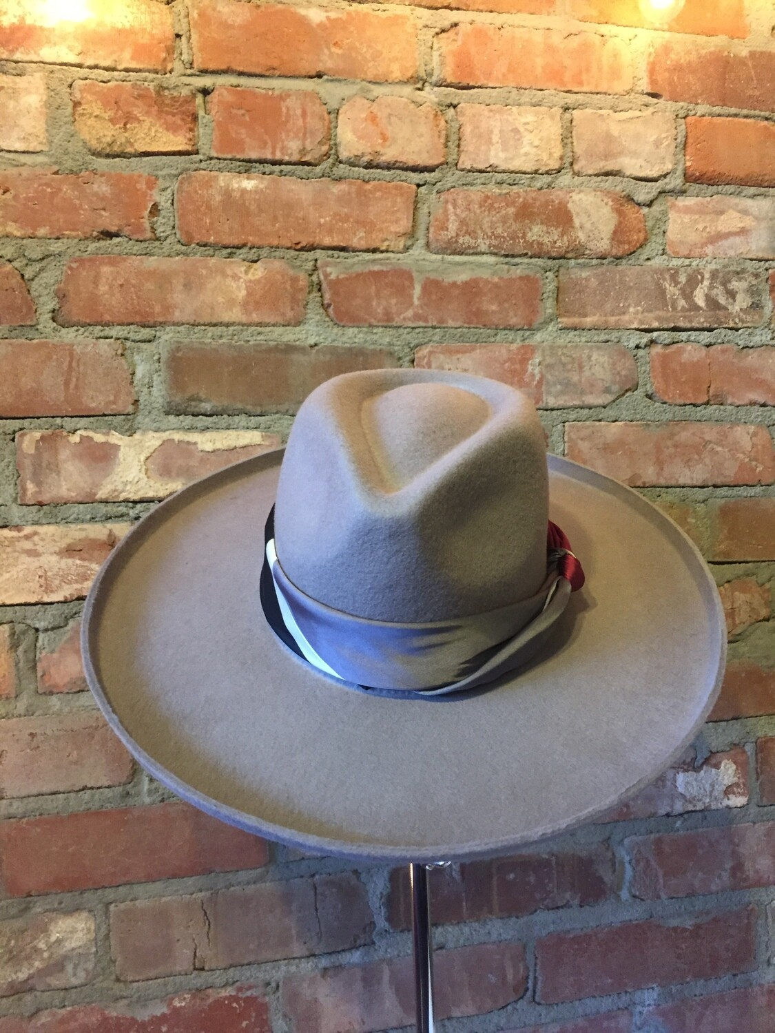 """AAC-""""Gray""""Wool Felt Panama Hat with Neck Scarf"""