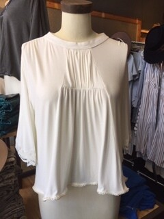 AAC - $42.99 Rayon Jersey Top with Crochet Trim