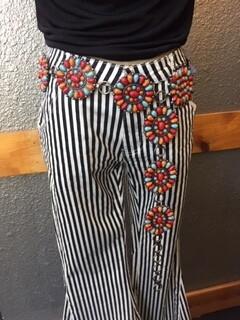 AAC - Black & White Stripe Mid-Waist Bell Bottoms