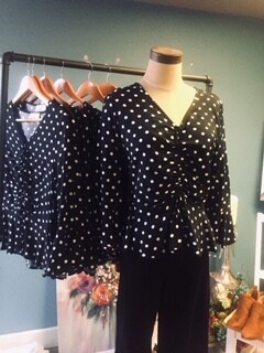 AAC - Runched Front Polkadot Top - 3/4 Sleeve