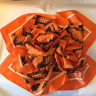 AAC - Orange Snake Print Soft N Silky Neckerchief