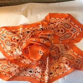 AAC - Orange Soft N Silky Paisley Print Bandana