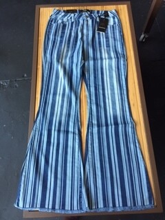 AAC - Mid Rise Striped Flare with Unfinished Hem