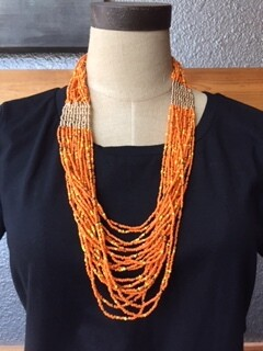 AAC-Multi Strand Bead Necklace - Orange