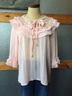 AAC - $44.99 Ruffle Accented Blouse - Pink