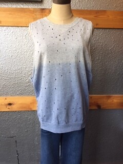 AAC - $44.99 Sleeveless Distressed Ombre Top-Blue