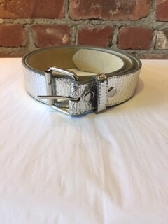 "AAC-Silver color genuine leather belt 1.5"" wide"
