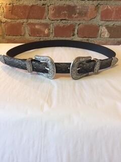 AAC - Black Snake Print Double Buckle Belt