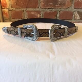 AAC - Brown Snake Print Double Buckle Belt