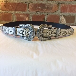 AAC - Ivory Snake Print Double Buckle Belt