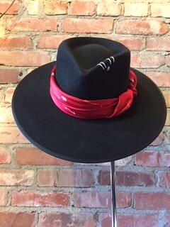 AAC - Black Felt Rancher Hat with Scarf - Wool