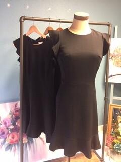 AAC - Black Ruffled Cap Sleeve Dress Flounce Hem
