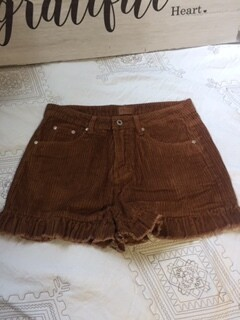 AAC - Corduroy High Waist Shorts with Ruffle