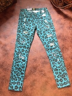AAC-Teal Leopard Print Skinny Jeans-Silver Sequins