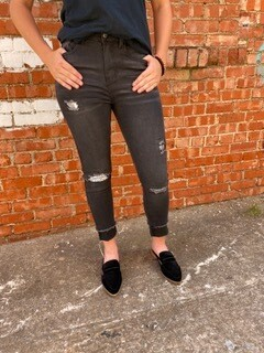 AAC - Skinny Leg Black  Sequin Patch Distressed