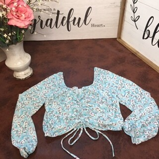 AAC - Floral Print Runched Crop Top