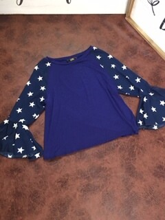 AAC - Splashed With Stars - Bell Sleeve Blouse