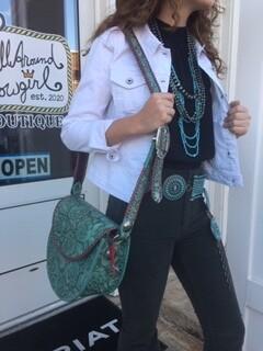 AAC - Saddle Bag Style Purse - Turquoise Color