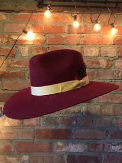 AAC - Wine Pinched Front Hat with Beige Hat Band
