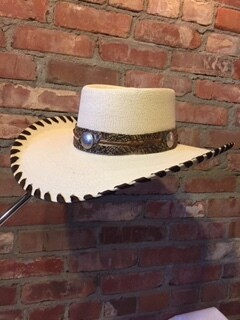 AAC - Dundee - Boater Style White Palm Hat