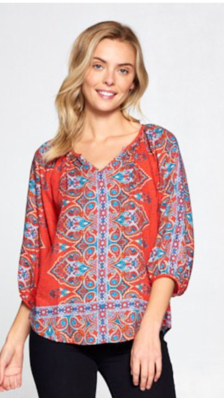 AAC -  Non Stop Paisley 3/4 Sleeve Top