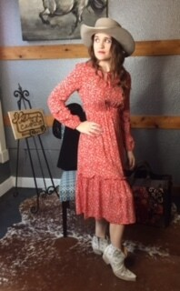 AAC - Red Floral Pattern Long Sleeve Dress