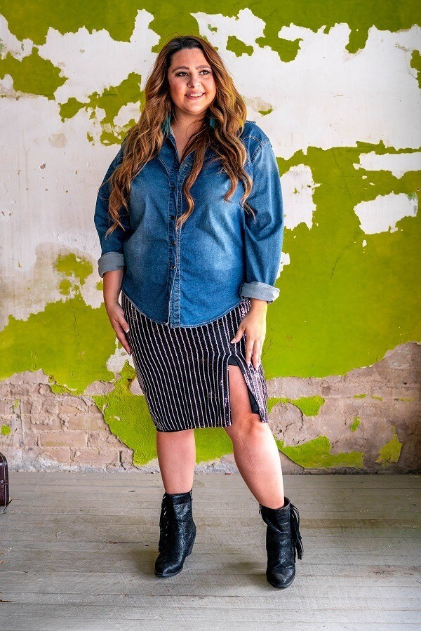 AAC - Sparkling Pin Stripe Sequin Skirt - B/W-Plus