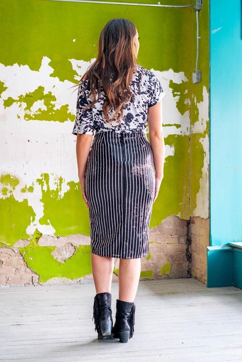AAC - Sparkling Pin Stripe Sequin Skirt - B/W-REG
