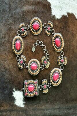 AAC - Pink & Peach Colored Western Concho Belt