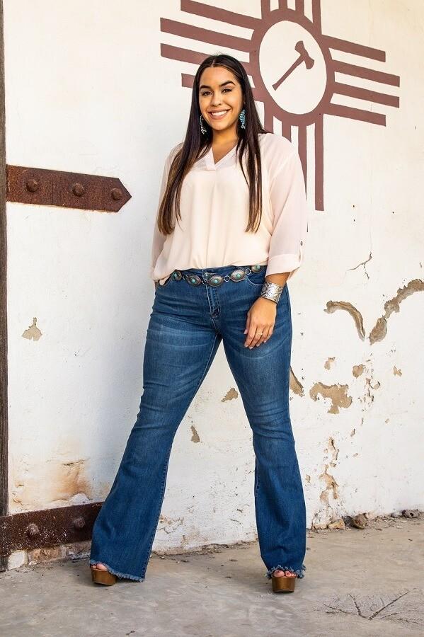 A-AC - Midwash Mid-Rise Flare Jeans Plus Size!
