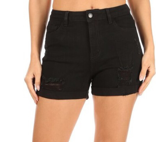 AAC - Roll With It - High Rise Black Shorts - Reg