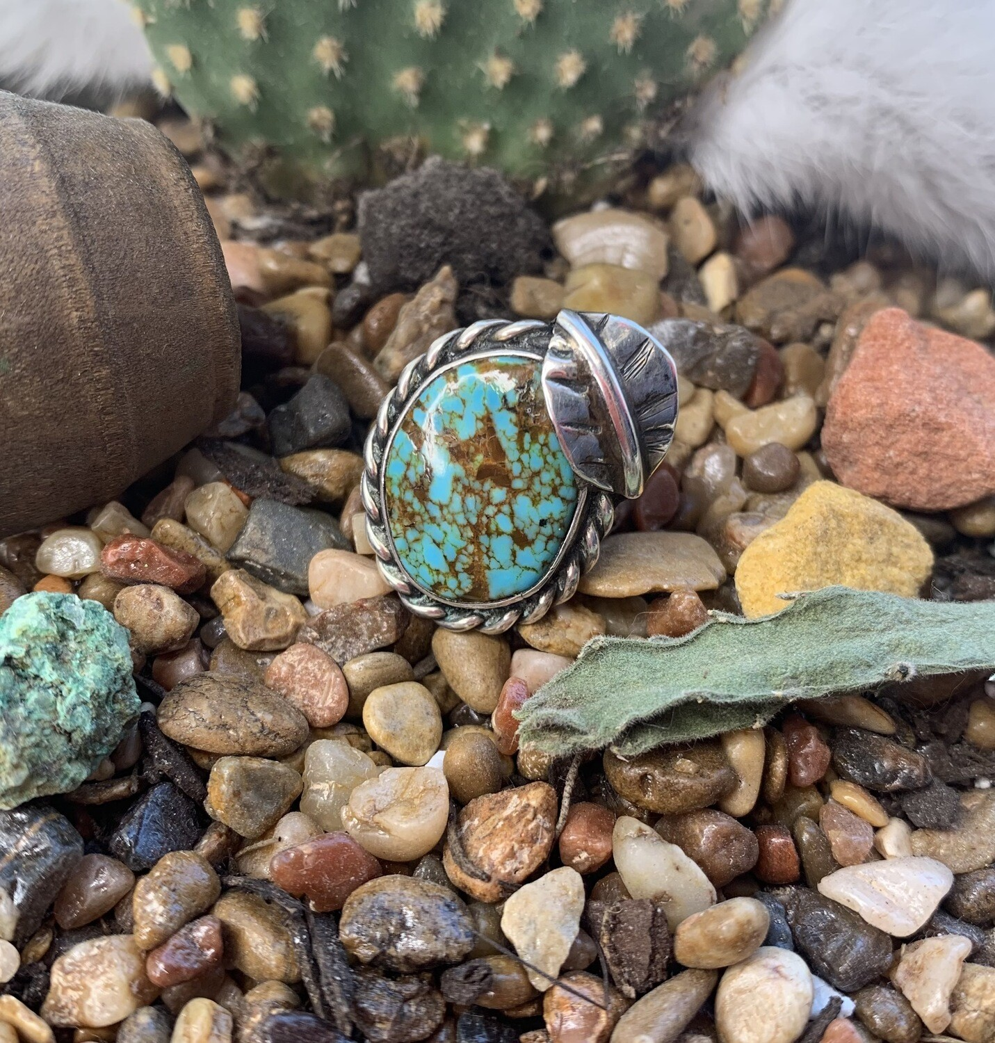 AAC - Turquoise & Sterling Rope Edge Ring