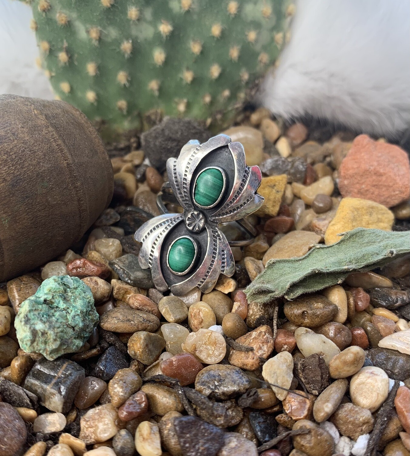 AAC - Dble Squash Blssm Turquoise & Sterling Ring