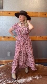 AAC - Pink Off The Shoulder Midi Dress