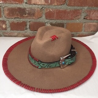 AAC - All American - Cowgirl Hat Trimmed in Red