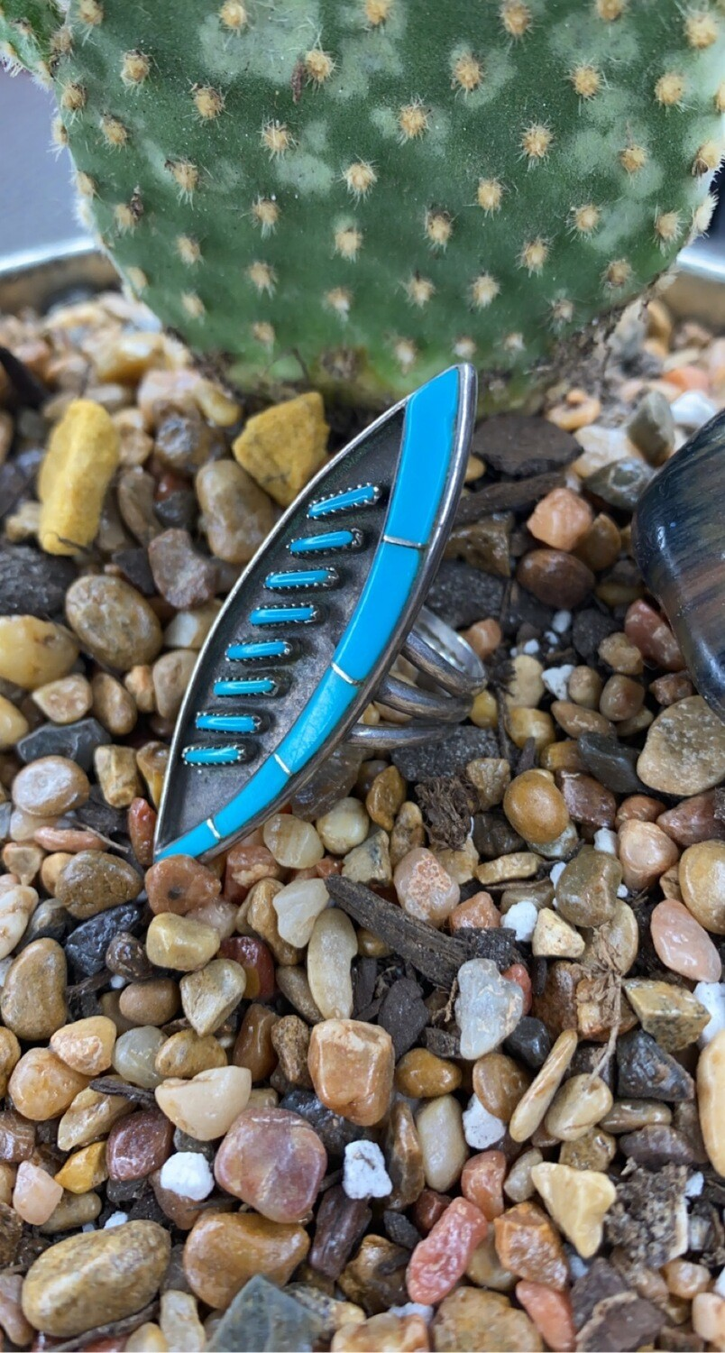 AAC - Zuni Pettipoint Ring - Sterling / Turquoise