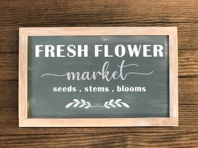 Handmade Flower Market Sign-grey no.s123