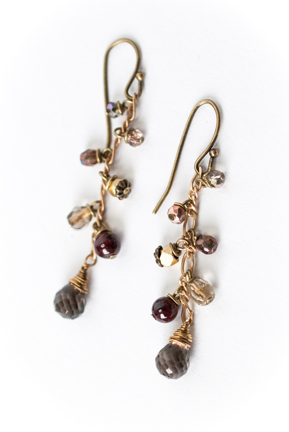AV Cider Smokey Quartz Cluster Dangle Earrings #cid010e