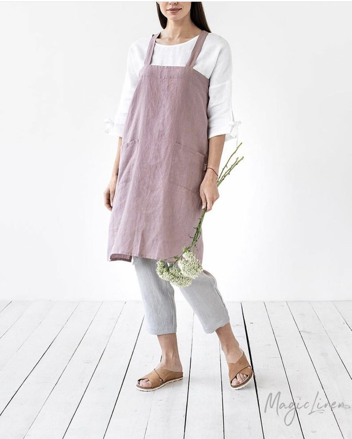 European Linen Japanese Cross back Apron