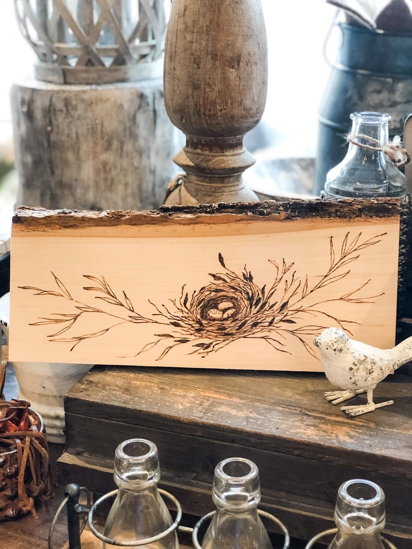 Wood burn plaque - nest no.160