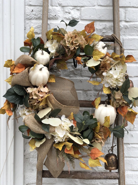 Fall Wreath Wht Pumpkin no. 173
