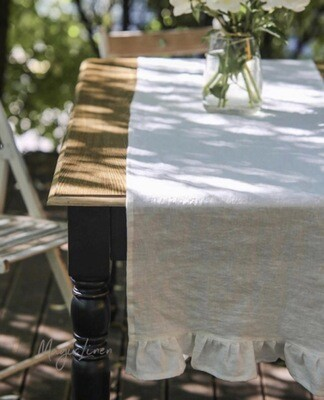 European Linen Table Runner with ruffle
