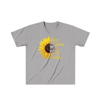 Wildflower Sunflower - Adult VNeck - Tri-Blend