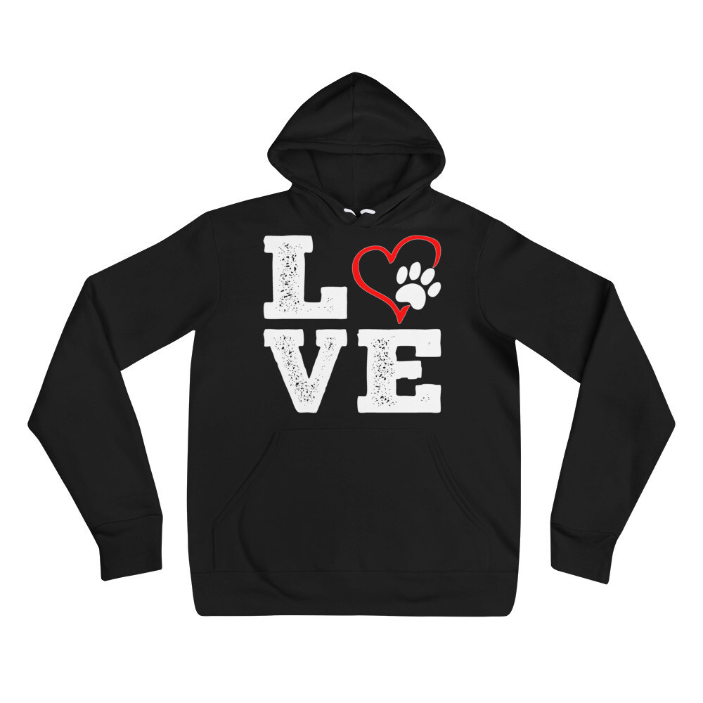 LOVE PAWS - Unisex - Lightweight Pullover Hoodie - Bella+Canvas 3719