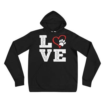 LOVE PAWS - Unisex - Lightweight Pullover Hoodie - Bella+Canvas 3719